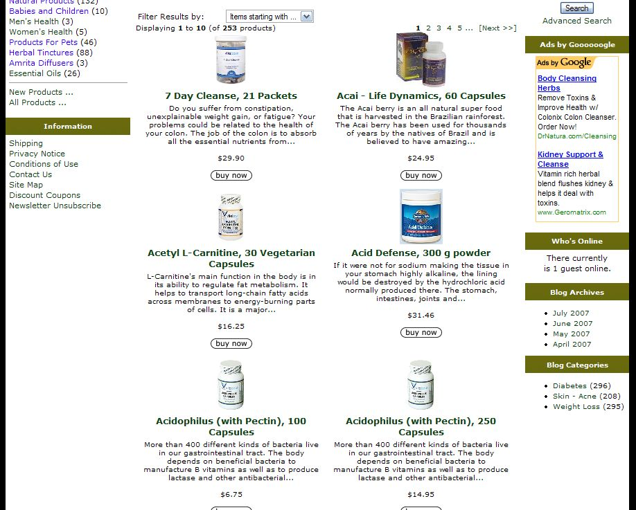 Column Layout on Product Listing