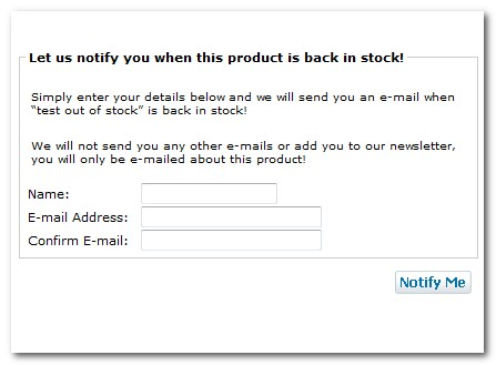 Back In Stock Customer Notifications : Zen Cart E-commerce